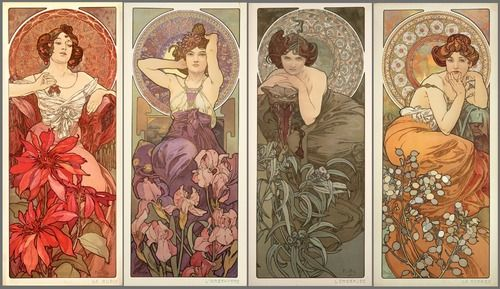 The precious gemstones, a series of lithographs by Alphonse Mucha (created 1900). Pictured from left to right are Ruby, Amethyst, Emerald, Topaz