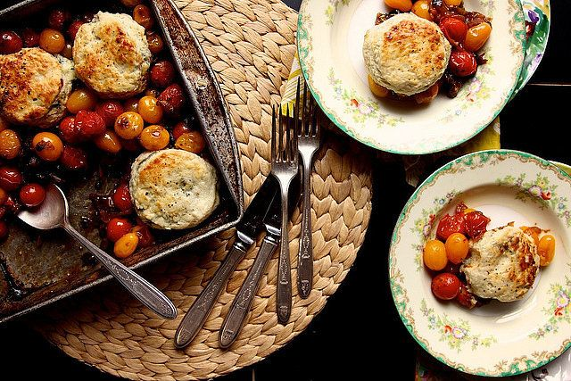 Savory Tomato Cobbler with Blue Cheese Biscuits