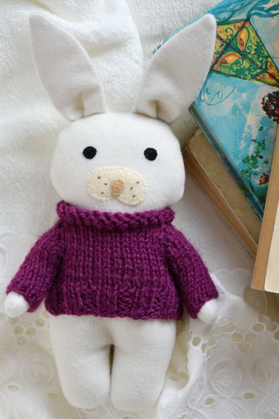 Purple Viola stuffed toy animal soft toy white bunny by Fernlike nursery decor babyshower gift idea