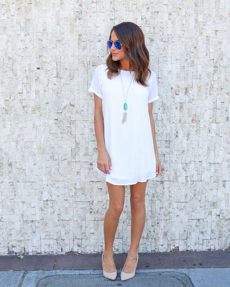 Power Move Shift Dress - White
