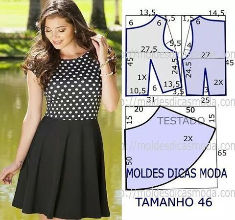 http://moldesdicasmoda.com/vestido-anos-cinquenta-86/ #dressblackandwhite…