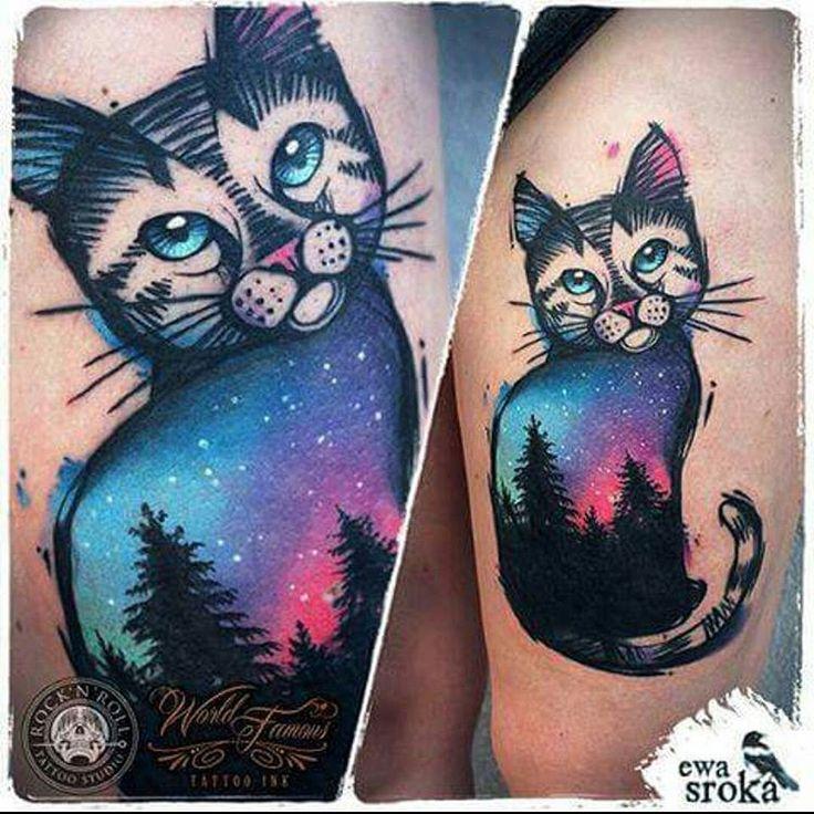 #inked #ink #tattooed #tattooedgirl #tattoo #tattoos #cat #cats #catink #watercolor #watercolortattoo #catcolor #watercolorcat #forest #foresttattoo #ewasroka #colorfull #colour #arttattoo #colourart #colorart #myheartbeatisasoundwave