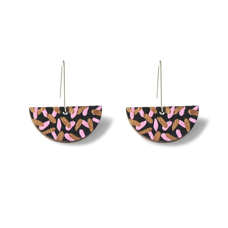 Tropics Drop Earrings - Black, Pink and Bronze-Amindy