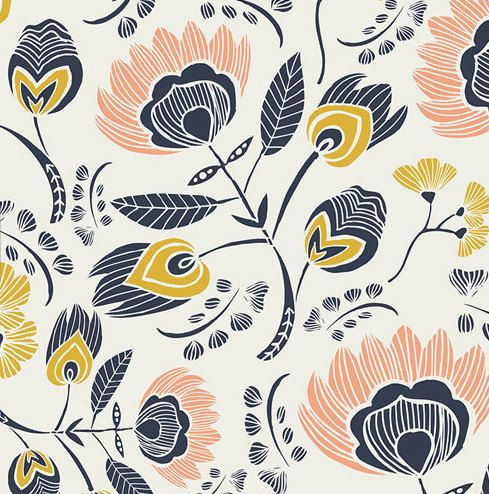 Floral Crib Sheet - Standard or Mini Crib Sheet / Designer #LeahDuncan Crib Sheet / Navy Pink Yellow Baby Girl Bedding / #Etsy Baby #Bedding