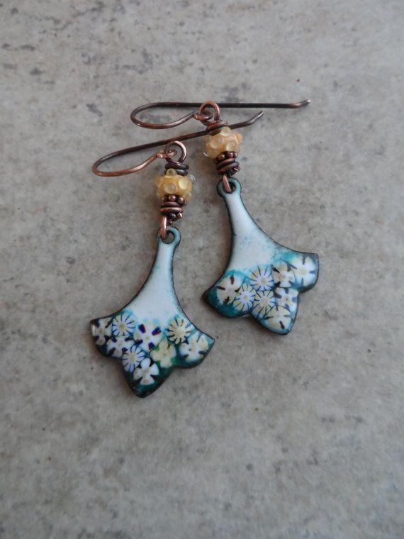 Vanilla Bean ... Enameled Copper Fleur de Lis Drops by juliethelen