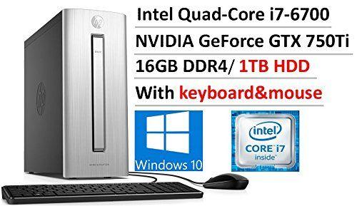 2017 Flagship HP ENVY 750 Premium Business Desktop, Intel Quad-Core i7-6700 3.4GHz, 16GB DDR4, 1TB HDD, DVDBurner, NVIDIA GeForce GTX 750Ti, 802.11ac, Bluetooth4.2,HDMI,Keyboard&Mouse, Win10  Intel i7-6700 Quad-Core processor 3.4 GHz (max turbo boost - 4.0 GHz), 8 MB CPU Cache; NVIDIA GeForce GTX 750Ti (2 GB), Integrated Intel HD Graphics16GB DDR4, PC4-17000 MB/s; 1TB SATA HDD, 7200 rpm; Ultra Slim Tray SuperMulti DVD Burner driveDVD/CD burner, HP USB wired keyboard (Cable le..