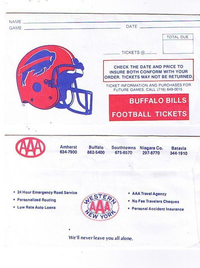 1985 Buffalo Bills Ticket Envelope