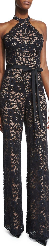 Alexis Rene Halter-Neck Lace Jumpsuit, Black