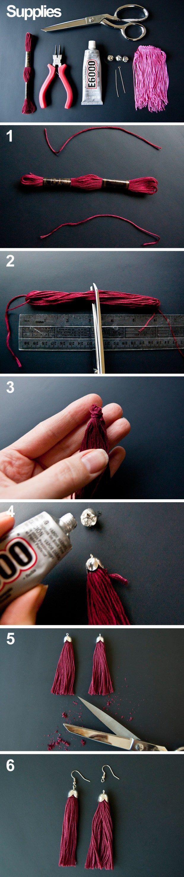 DIY tassel earrings tutorial                                                                                                                                                                                 More