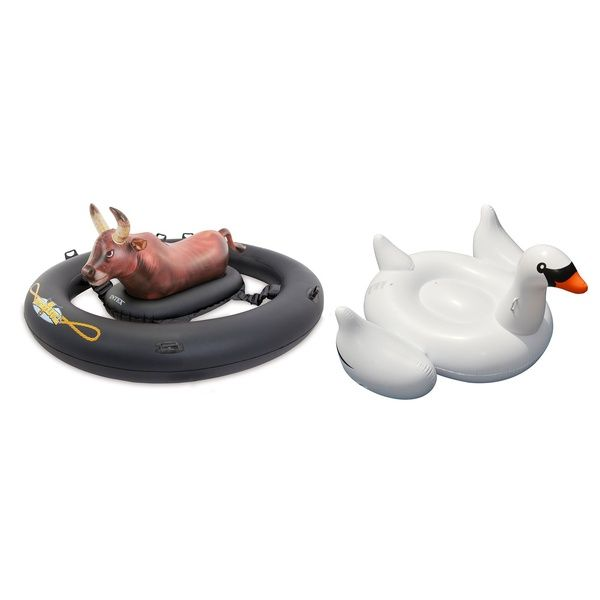 Intex Inflatabull Inflatable Pool Toy Game and Giant Ride-On Swan Float Lounger