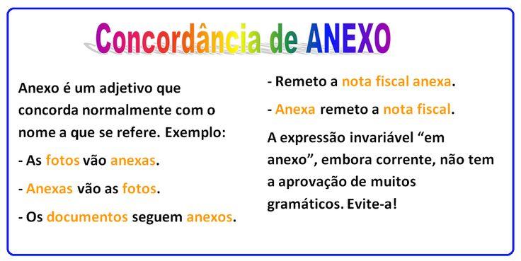 Português na tela: Concordância nominal: palavra ANEXO