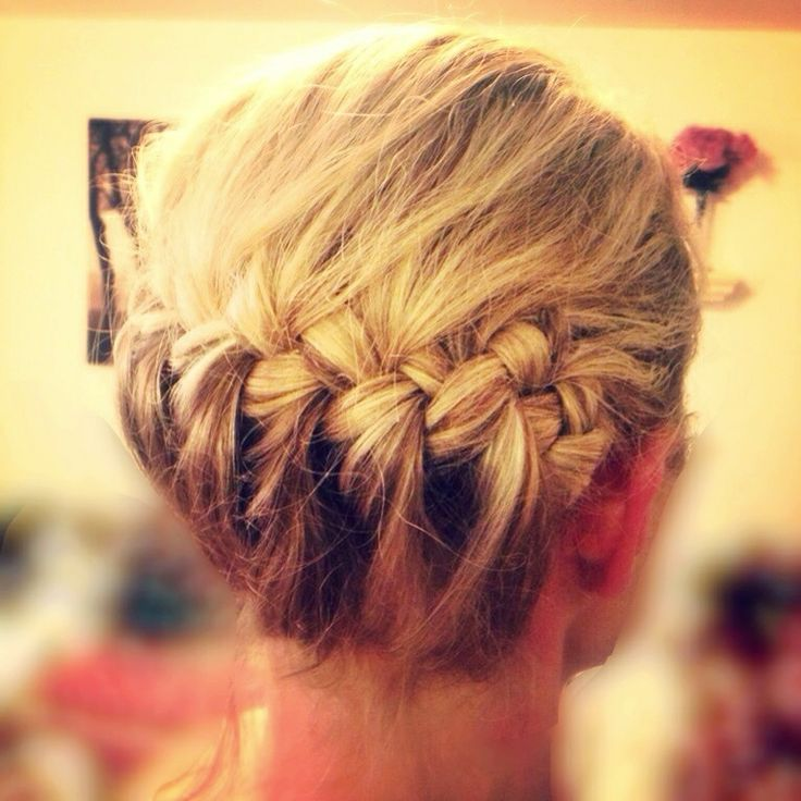 Pretty horizontal french braid updo  =)  Just tuck under the remaining braid. Add a flower on the side for a more dressed up look. Can be done with short hair too :D