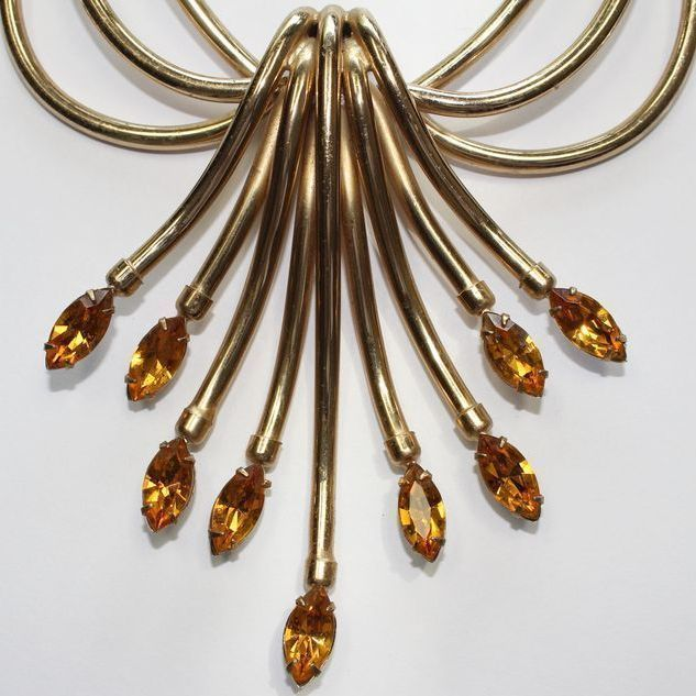 #2941 Napier Topaz Waterfall Necklace Very Dramatic Exclusively at Lee Caplan Vintage Collection on RubyLane