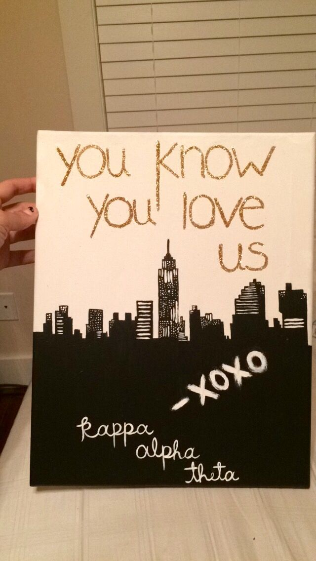sorority canvas, for my little, kappa alpha theta, craft, DIY, gossip girl…