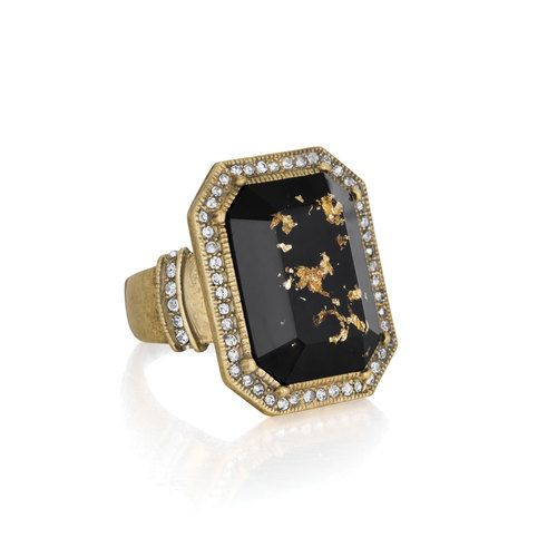 """Gilded Jet Statement Ring 