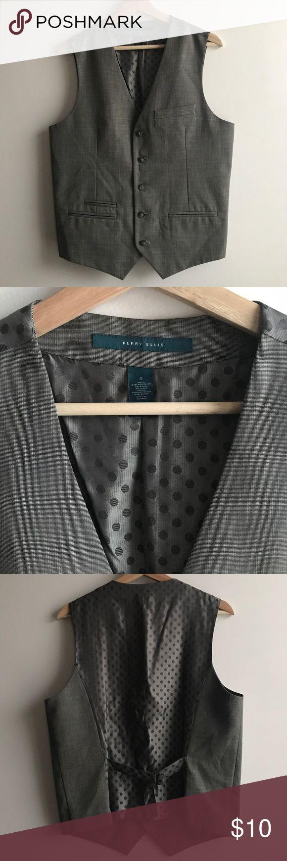 Men's Grey Suit Vest Perry Elise men's grey suit vest. Size small. 5 button. Smoke free home. Perry Ellis Jackets & Coats Vests