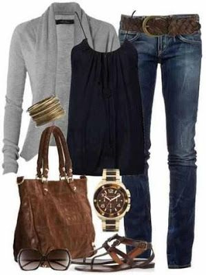Grey long sweater, black blouse, jeans bracelet, hand bag and wrist watch