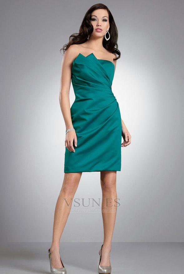 Vestido de dama de honor Drapeado Lateal Natural Corto Sin tirantes Satén Jade