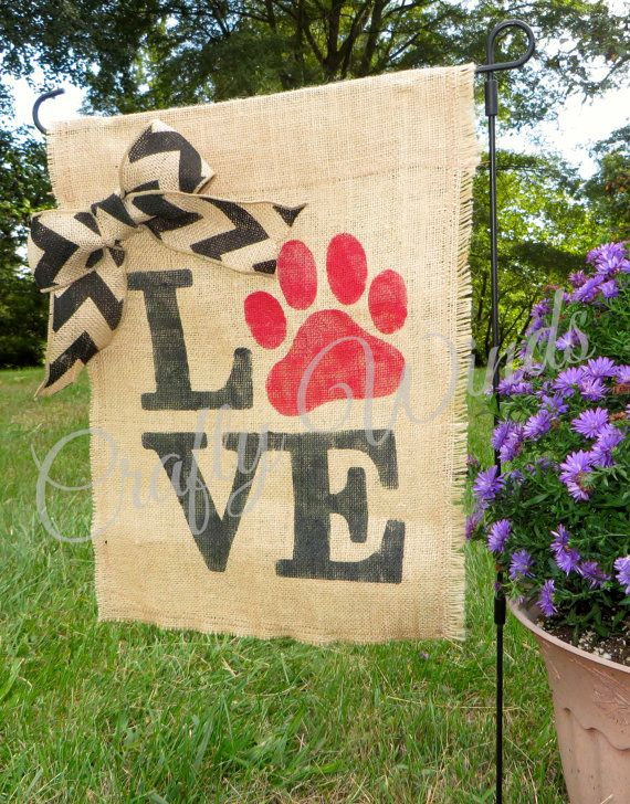Dog lovers burlap garden flag by CraftyWinds1 on Etsy