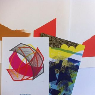 Collage work and postcards from yesterday's trip to the @hepworthwakefield for the print fair. So many wonderful printmakers and such a lovely atmosphere. So glad I managed to go. @katebanazi from @lookupprints, @touching__elbows