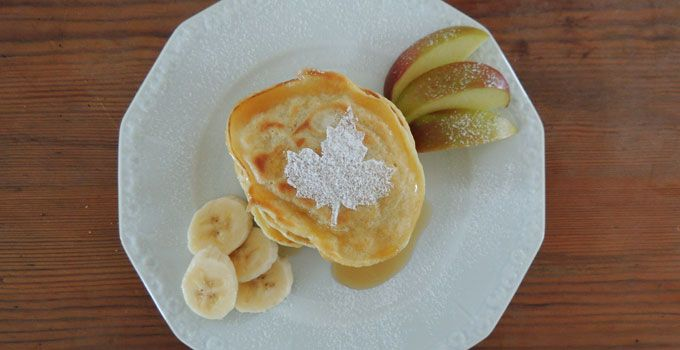 Soy pancakes with maple sirup - a dairy free recipe. I used unsweetened soy milk and the result was almost as the original.