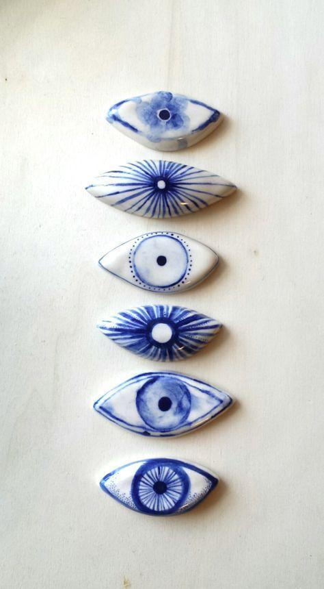 Eikcam Ceramics hand painted evil eye ornaments