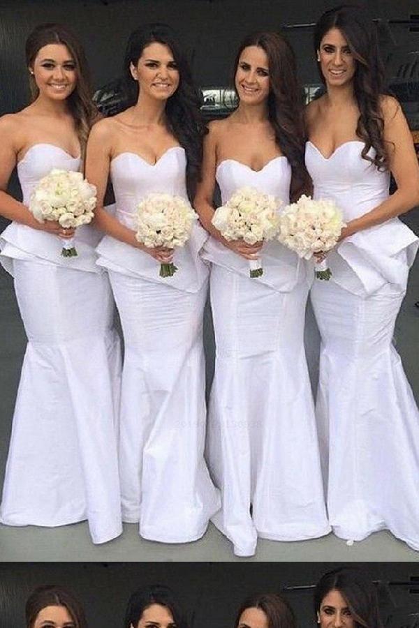 On Sale Enticing Bridesmaid Dresses White Mermaid Bridesmaid Dresses Bridesm Sweetheart Bridesmaids Dresses Cheap Bridal Dresses White Bridesmaid Dresses Long