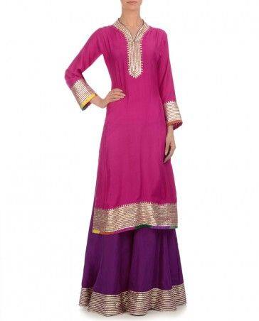 Hot Pink Kurti with Royal Purple Sharara