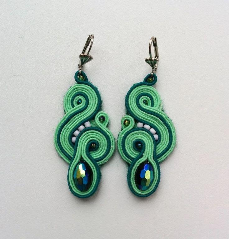 Soutache handmade earrings Svarovsky #Handmade #DropDangle