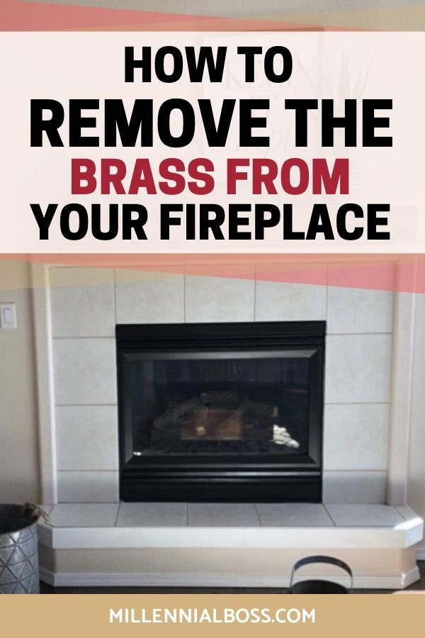 Spray Paint Brass Fireplace Makeover Plus A Floating Mantle For 150 Brass Fireplace Makeover Fireplace Fireplace Makeover