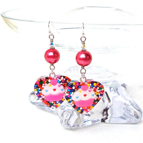 Funky cupcake and heart candy sprinkle earrings - pink cupcake and sprinkles resin earrings - candy heart earrings by Sparkle City Jewelry, $20.00