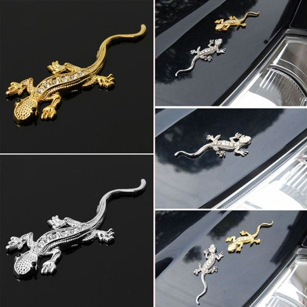 Metal Gecko Shape Badge Emblem Logo Auto Car Truck Decor 3D Decal Sticker Silver