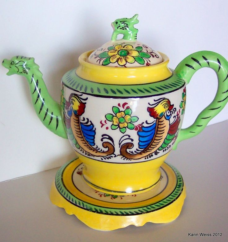Vintage Dragon Teapot and Trivet by karineweiss on Etsy