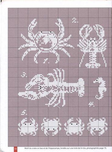 mer - sea - crustacé - point de croix - cross stitch - Blog : http://broderiemimie44.canalblog.com/