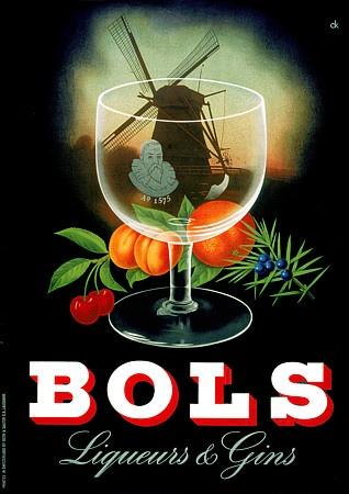 Bols Liqueur & Gin vintage drink ad / advert