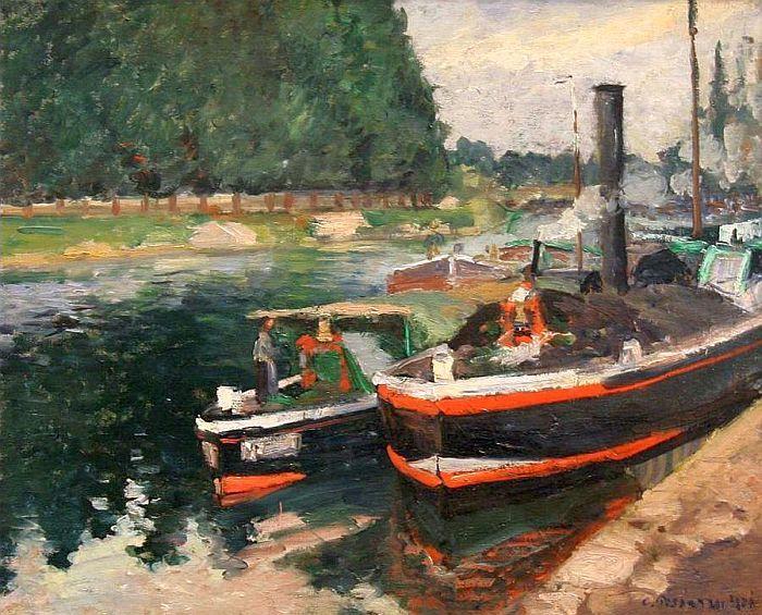 Camille Pissarro, péniches à Pontoise, 1876