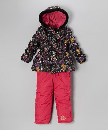 Take a look at this Black Heart Puffer Coat & Bib Pants - Infant & Girls by Pink Platinum & iXtreme on #zulily today!