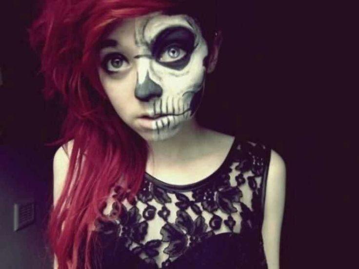 Halloween Half Skull Face Makeup | Halloween | Pinterest