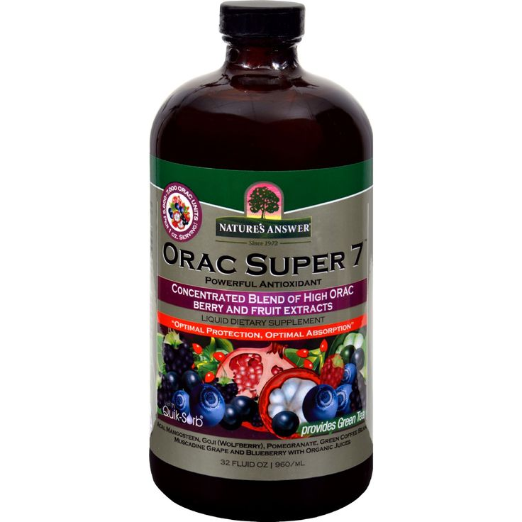 "Natures Answer ORAC Super 7 - 32 fl oz - Natures Answer ORAC Super 7 Description:    6000 ORAC Units Per 1 oz Serving!  Concentrated Blend of High ORAC Berry and Fruit Extracts  With Quik-Sorb ORAC stands for """"Oxygen Radical Absorbance Capacity."""" ORAC describes a laboratory analysis of the antioxidant activity against the peroxyl radical which is one of the most common reactive oxygen species (ROS) that cause damage to cell membranes.    ORAC Super 7 contains a hand selected combination…"
