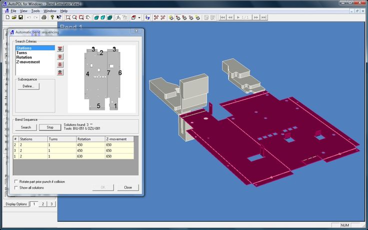 Autopol Bend Simulator : Calculating bend sequence automatically