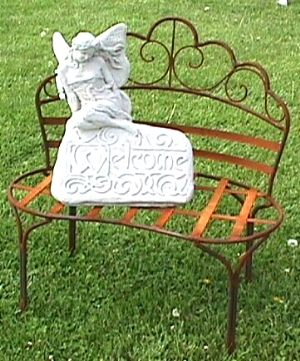 Wrought Iron Kidney Bench   Yard Decor   Patio Wide X Tall X Deep.