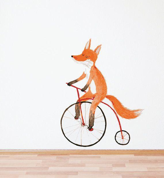 Fox on a Bike Mini Wall Decal