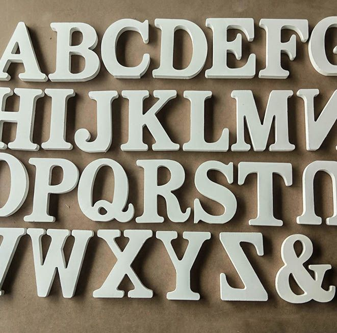 Home Decor Decoration thick Wood Wooden White Letters Alphabet Wedding Birthday - € 0,27 - 0,81