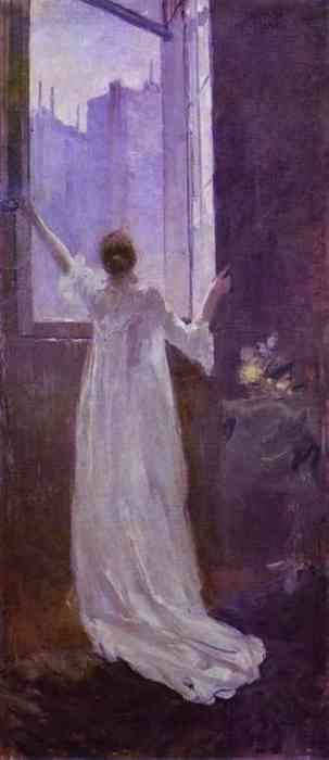 study in purple...woman at the window