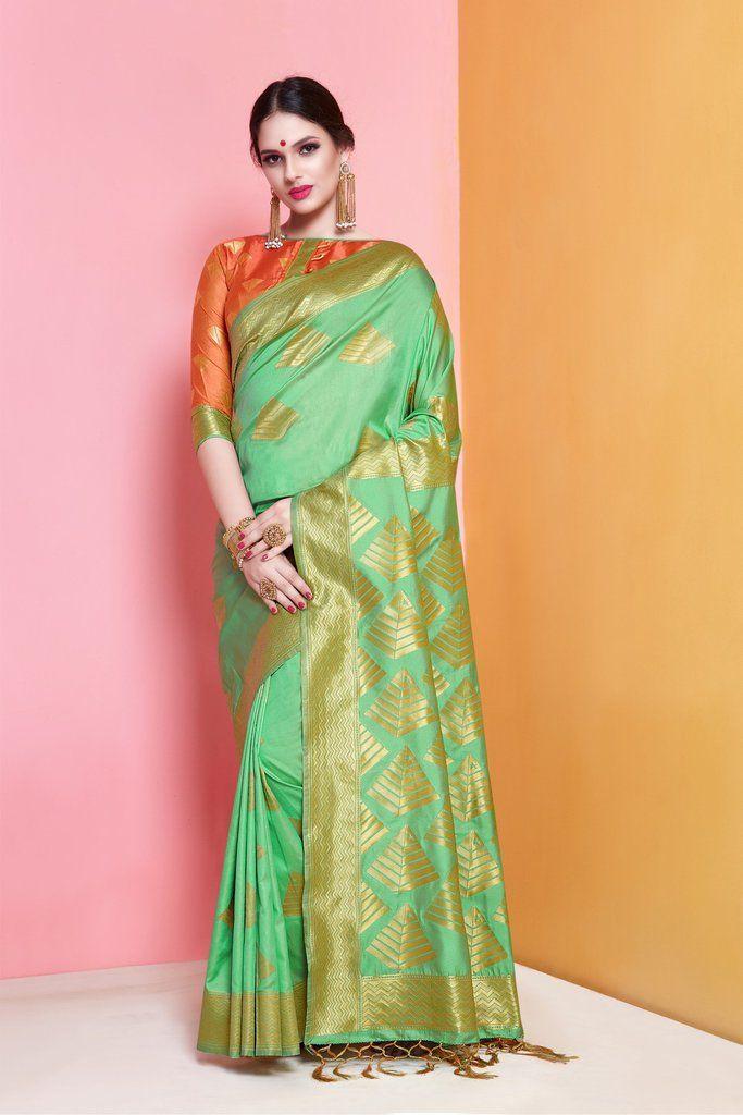 6e958aab1febd Buy Lime Green Color Banarasi Soft Art Silk Saree