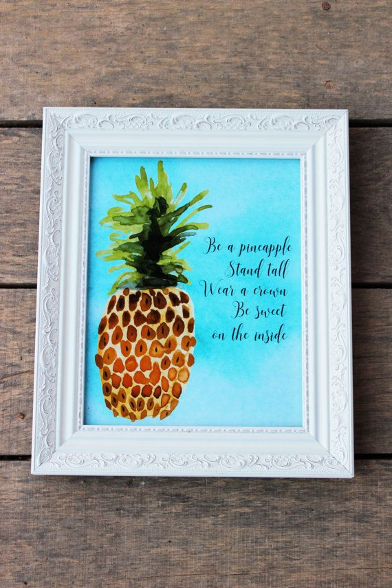 Pineapple Print Tropical decor 8 x 10 Stand by pinkoctopuspapers