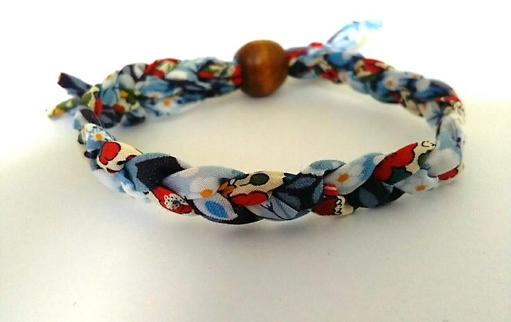 Multi-coloured Liberty Print fabric bracelet by BeelineEmporium on Etsy