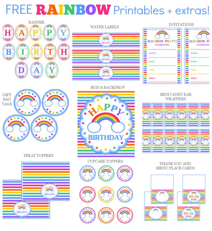 Rainbow Collage text