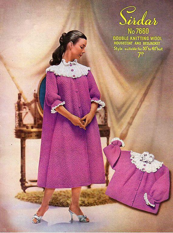 PDF Vintage 1940s Womens Ladies Bed Jacket Knitting Pattern