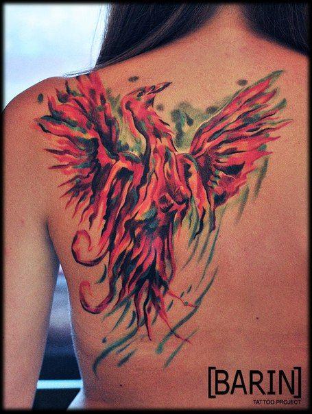 Экспрессионная интерпретация феникса #tattoo #tattoo_artist #artist #Barin #color #expression #style #master #russia #тату #татуировка #татуировщик #Юрий_Баринов #экспрессия #цвет #стиль #спб #питер #мастер